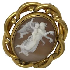 Antique Victorian Cameo Venus & Cupid Mourning Brooch