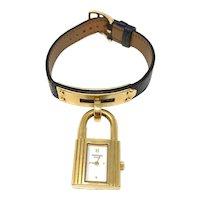 Hermes BlueKelly Gold Plated Watch Bracelet