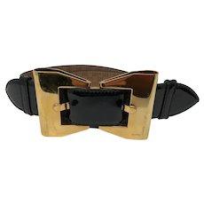 Black Gucci Bow Patent Leather Belt
