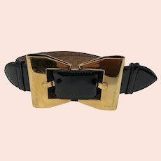 Black Gucci Bow Patent Leather Belt