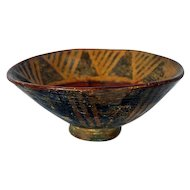 Large pre-Columbian 850 A.D. geometric design pedestal bowl