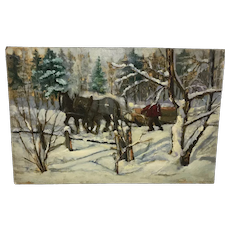 James M. Donnell Carrying Logs Painting