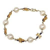 Enameled 18k Gold Cultured Pearl Bracelet