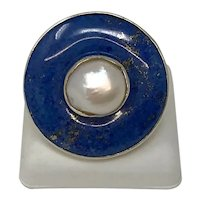 Canadian Jocelyn Lachance Silver Lapis & Pearl Ring