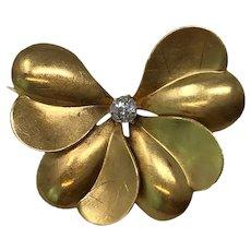 14k Yellow Gold & Diamond Brooch Pin