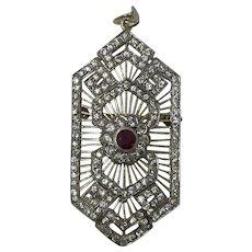 Art Deco Ruby & C/Z Silver Pendant