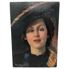 Portrait of a Young Lady Signed Painting