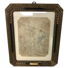 Francois Boucher School Young Lady & Children Drawing