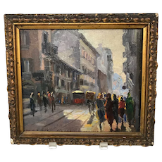 Italian Oil Painting on Wood Panel Corso Romano