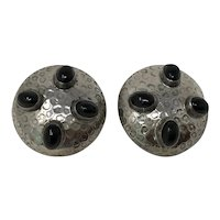 Mexico 925 Silver & Onyx Clip On Earrings