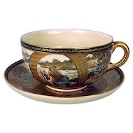 Japanese satsuma earthenware cup & saucer from Meiji period