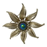 Coro Vintage Flower Brooch Faux Pearl Colored Center Stone