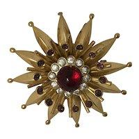 Coro Vintage Sunburst Brooch Red & Clear Crystal Stone
