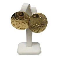 Vintage Escada Gold Tone Clip On Earrings