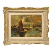 British George S. Walters 1838-1934 fishing boats painting