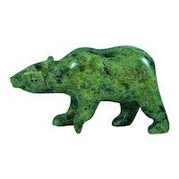 Canadian Inuit Eskimo Serpentine Walking Bear Sculpture Signed