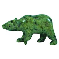 Canadian Inuit Eskimo Serpentine Walking Bear Sculpture Signed