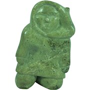 Inuit eskimo carving of a man serpentine stone