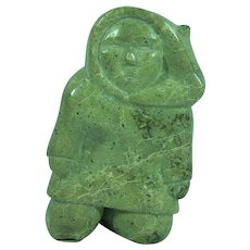 Inuit eskimo serpentine stone sculpture of a man