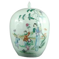 Chinese enameled porcelain ginger jar with maiden children