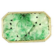Antique Chinese 14k Solid Gold and natural green jade brooch