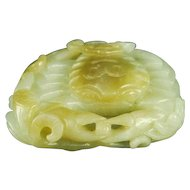 Antique Chinese qing dynasty greenish jade crab figurine