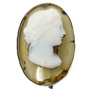 Gorgeous 18th c. oval agate high relief cameo of Bacchus brooch