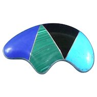 Mexico modernist sterling silver signed brooch