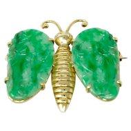 Antique Chinese Ladies Butterfly 14k Gold Diamond Jadeite COA