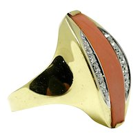 Modernist 18k yellow gold coral diamond ladies ring
