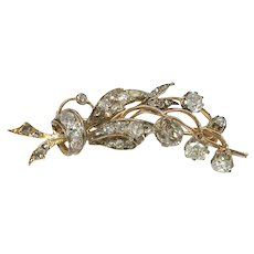 Antique Victorian era 18k white gold brooch with natural old cut diamonds