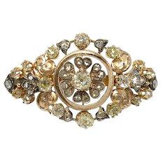 Antique Victoria era 18k gold and genuine diamond brooch