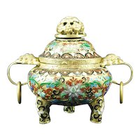 Chinese 20th century cloisonne incense burner