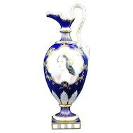 Minton Hand painted gilded vase blue cobalt girl portrait signed