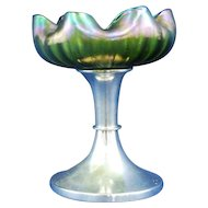 Austrian Loetz Art Glass footed iridescent comport wave design