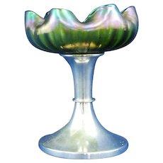 Austrian Loetz Art Glass footed iridescent comport wave design