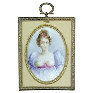 Antique porcelain miniature bronze frame painting Mille Lange