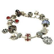Sterling silver original Pandora bracelet with 18 charms