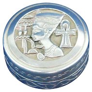 Sterling silver pill box Nefertiti design