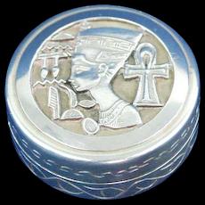 Sterling silver pill box Nefertiti design
