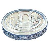 Sterling silver pill box Pharaoh boat design
