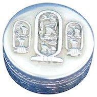 Sterling silver pill box Egyptian symbols inscription