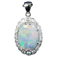Vintage 14k white gold pendant natural opal cabochon and diamonds