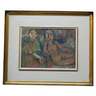 French Israeli  expressionist painting by David Messer  1912-1998 Two Women