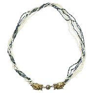 Sterling Silver six strand freshwater rice pearls necklace with double dragon clasp