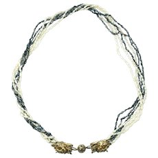 Sterling silver pearl necklace six strand freshwater rice design with double dragon clasp