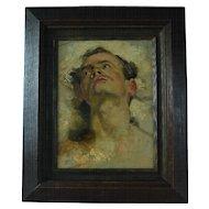 Painting Jean Baptiste Carpeaux 1827-1875 tete d'homme levee ver le ciel o/c