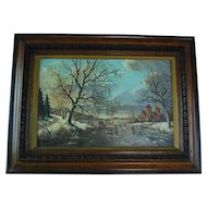 Dutch 19th century winter skating scene oil on canvas signed