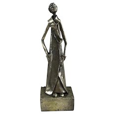 Canadian Alice Winant Silver plated Sculpture girl standing