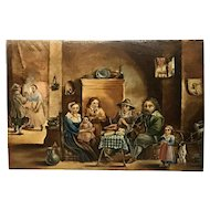 Dutch 17th century wood panel painting by David Teniers interior scene